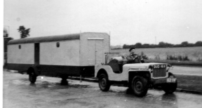 Glider trailer and jeep 1963