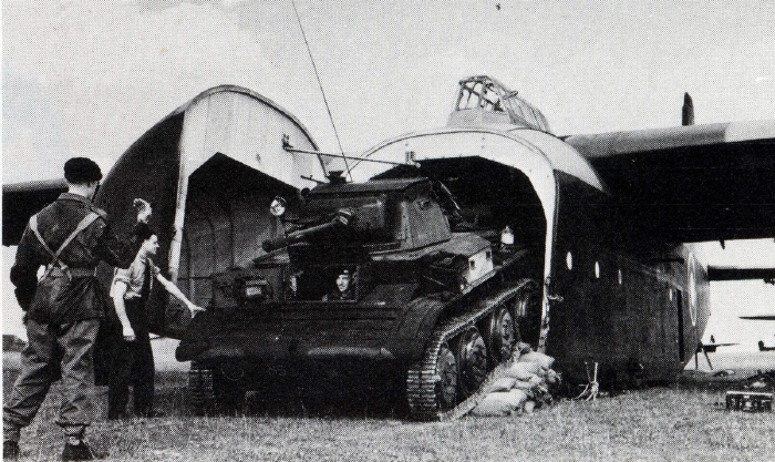 A light tank being unloaded from a Hamilcar